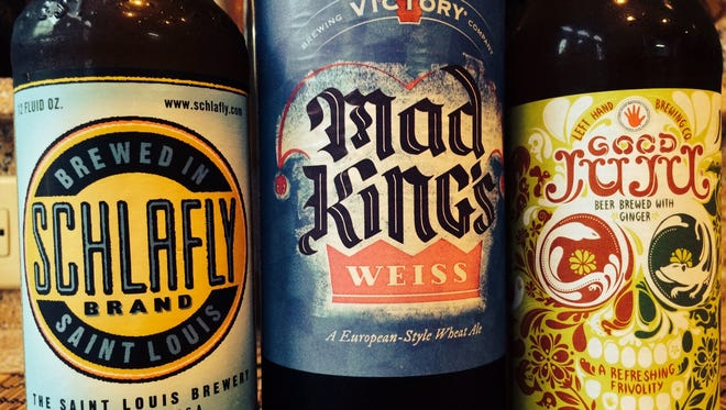 Three summer beers, Schlafly Summer Lager, Victory Mad King's Weiss and Left Hand Good Juju.