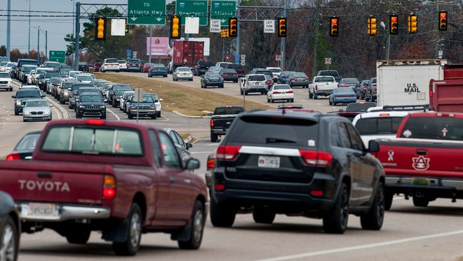 Traffic on Taylor Road at EastChase on Dec. 22. It's the most congested intersection in the city, according to a study.