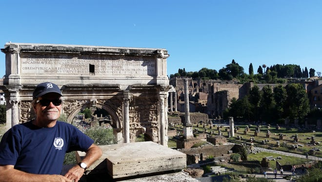 Randall Welch is photographed by his wife, Cheryl Welch, at the Forum in Rome while visiting Italy in September 2015. They live in Royal Oak.