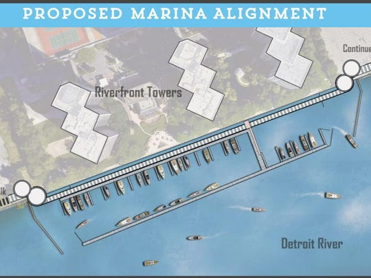 An architectural drawing shows the proposed marina that is part of the proposal for an extension of the RiverWalk that will be built on water.