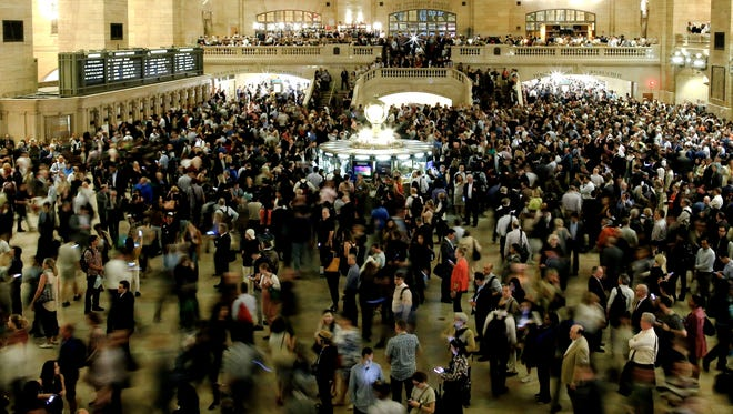 NEW YORK, NY - MAY 15:  Commuters wait for train service to be restored after a severe thunderstorm downed trees that caused power outages resulting in several Metro-North lines being suspended at Grand Central Terminal on May 15, 2018 in New York City. A powerful storm swept through the region just as the evening commute was kicking off after 5 p.m.  (Photo by Eduardo Munoz Alvarez/Getty Images)