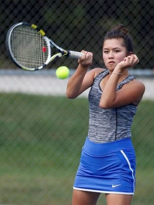 Kohler's Clara Montes returns a serve against Roncalli's doubles team at Lincoln Park in Manitowoc on Tuesday.
