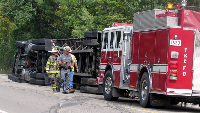 Nobody was hurt when a tractor trailer flipped over Wednesday afternoon on state Route 13 in the Town of Horseheads.