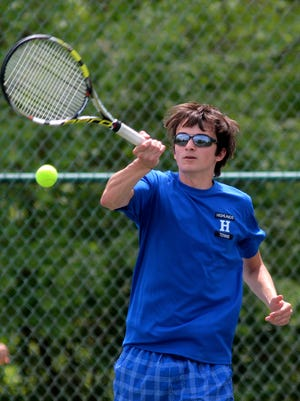Highlands' Max Freyberger hits the ball during a singles match in May of 2013.