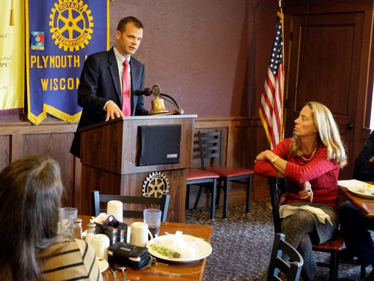 Devin LeMahieu talks to the Plymouth Noon Rotary Club