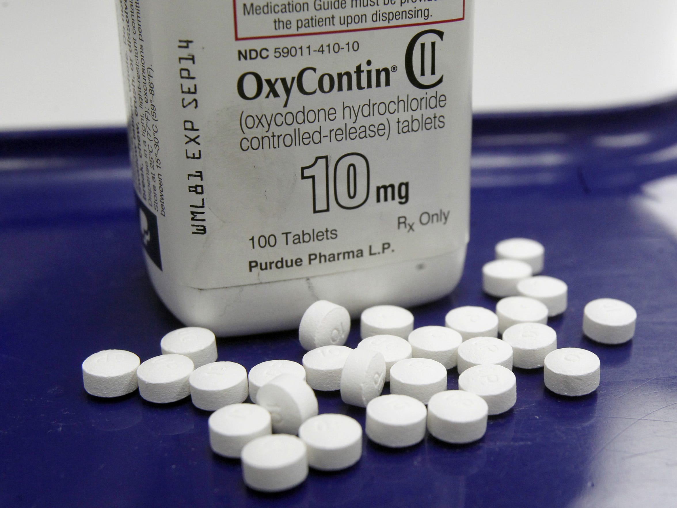 The Centers for Disease Control and Prevention reported in 2015 that drug overdoses in the U.S. rose again in 2014, driven by surges in deaths from heroin and powerful prescription painkillers such as Vicodin and Oxycontin, pictured here.