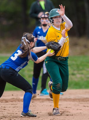 Colchester's Sam Messier tags out BFA's Meghan Connor in Colchester on Tuesday May 1, 2018.