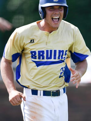 Brentwood outfielder Carson Shacklett (27) smiles as he runs to first base as they defeat Seymour during the 2018 TSSAA Class AAA State Baseball Tournament Thursday, May 24, 2018, in Murfreesboro, Tenn.