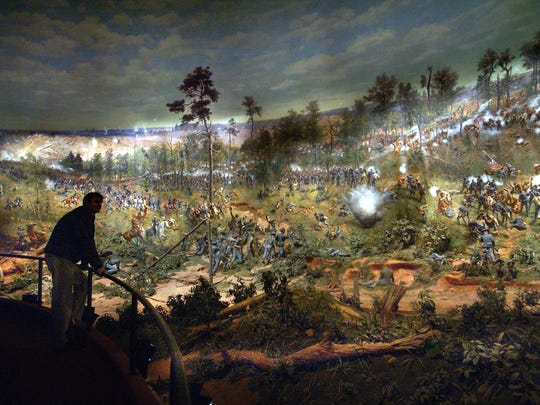 The Battle of Atlanta is presented as a three-dimensional 360-degree panorama painting and was actually painted in Milwaukee at a cost of $42,000. It is now valued in the millions. It recreates the dramatic Civil War battle that took place in July of 1864, a show that can be seen every 15 minutes at the Atlanta Cyclorama.