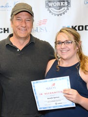 Elmira BOCES student Annalie Spencer got to meet TV host Mike Rowe during a recent national skills competition.