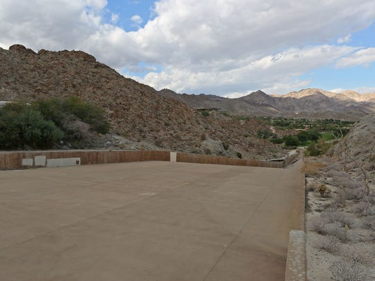 The massive entry to the Palm Valley Channel, just north of Bighorn Country Club, is designed to handle stormwater runoff from the nearby mountains.