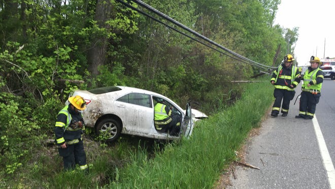 One person was reported injured in a single-crash crash Wednesday along the Boulevard, near Garden Road, in Vineland.