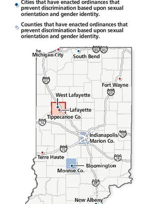 Indiana cities and/or counties that have ordinances preventing discrimination on basis of sexual orientation or gender indentity.
