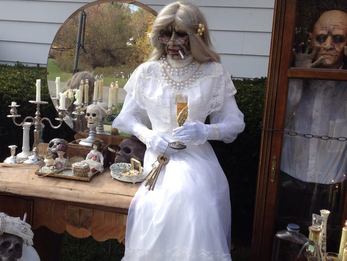 An elegant, yet creepy, display greets passersby on