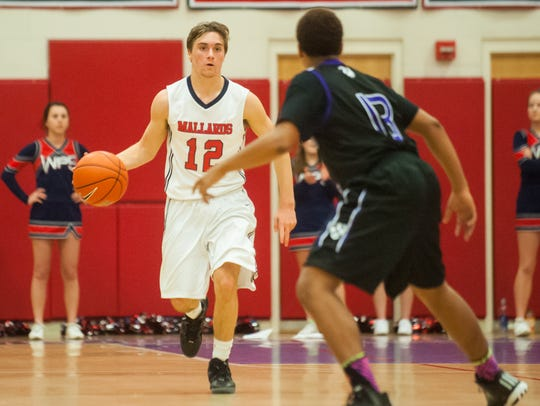 Worcester Prep guard Owen Nally works up court against