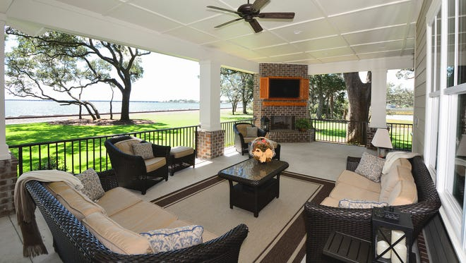 The rear porch offers fabulous views and abundant space for the Hursts to entertain.