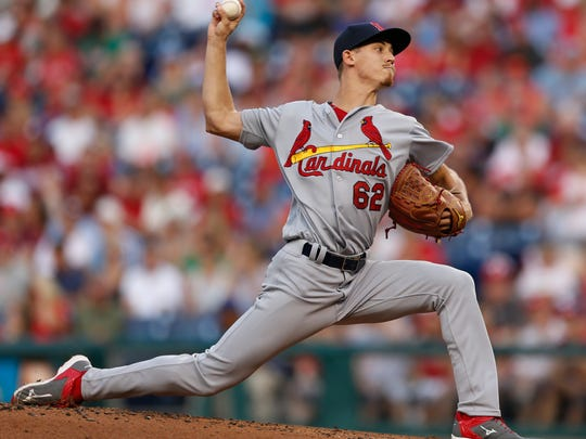 St. Louis Cardinals starting pitcher Luke Weaver (62) throws during the first inning of a baseball game against the Philadelphia Phillies, Saturday, Aug. 20, 2016, in Philadelphia. (AP Photo/Laurence Kesterson)