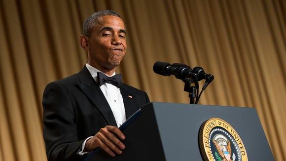 President Obama delivers remarks during the WHCA dinner