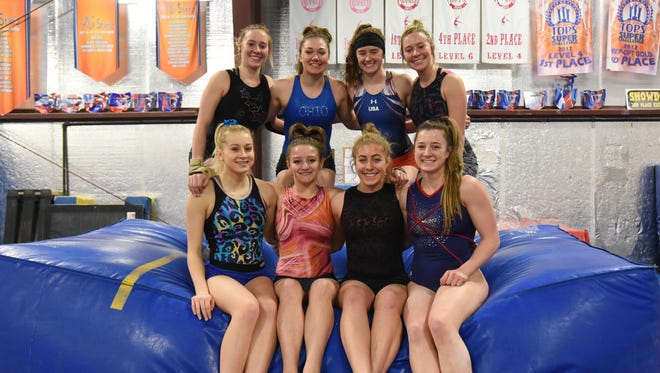 The Sheridan High School gymnastics team is heading to the state tournament. From left rear, Madison Snider, Rylee Rodich, Brooklyn Heller and Sarah Snider, front left, Emily Bobo, Cassidy Cox, Alysa Cipriano and Sydney Bradley.
