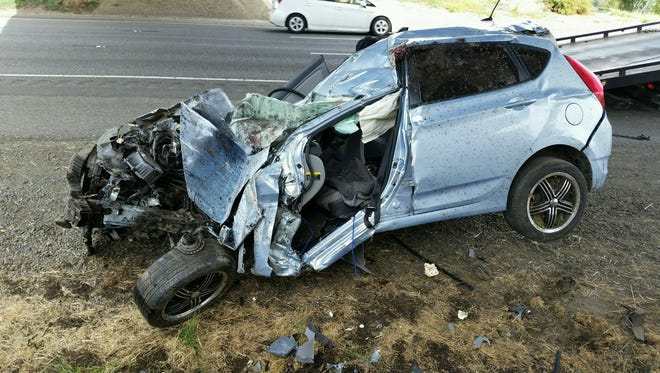 A Willamina man died Saturday after crashing and rolling his car on the freeway south of Woodburn.