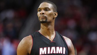 Miami Heat forward Chris Bosh (1) during the game against the Houston Rockets at Toyota Center.