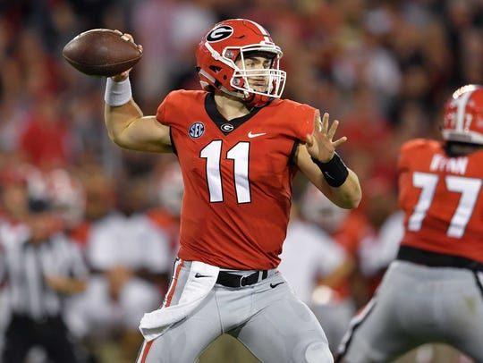 Sep 23, 2017; Athens, GA, USA; Georgia Bulldogs quarterback