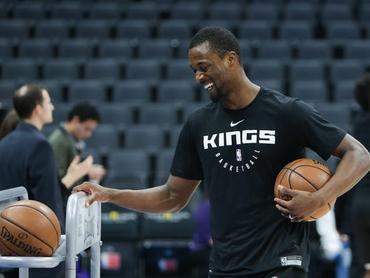 Feb 10, 2019; Sacramento, CA, USA; Sacramento Kings forward Harrison Barnes (40) laughs on the court prior to the game against the Phoenix Suns at Golden 1 Center. Mandatory Credit: Sergio Estrada-USA TODAY Sports