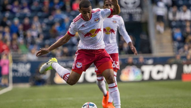 Wappingers Falls' Tyler Adams looks to strike the ball for the New York Red Bulls during a May 6 game against the Philadelphia Union.
