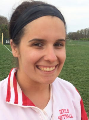 Rancocas Valley pitcher Angie Dunphy threw a complete game in an 8-6 win over Burlington Township on Thursday, April 13.