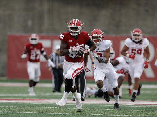 Indiana tight end Ian Thomas (80) runs for a touchdown
