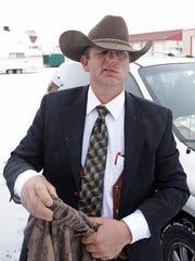 Ryan Bundy, one of the sons of Nevada rancher Cliven Bundy, walks in the Malheur National Wildlife Refuge following church Sunday, Jan. 10, 2016, near Burns, Ore.