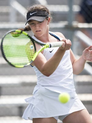 Carmel High School's no. 1 singles player, Lauren Lemonds, during the championship round of the 43rd Annual Girls' Tennis Team State Finals, Saturday, June 3, 2017, at North Central High School in Indianapolis. Carmel High School won the tournament.