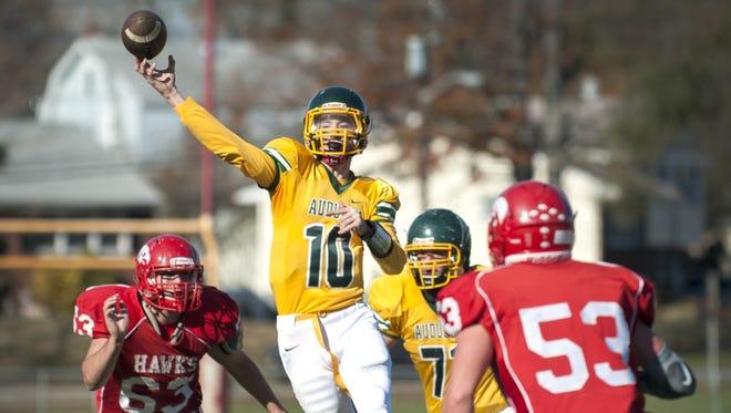Audubon quarterback Brian Furlong throws a pass during the 1st quarter of Thursdays football game between Audubon and Haddon Township played at Haddon Township High School.  11.26.15