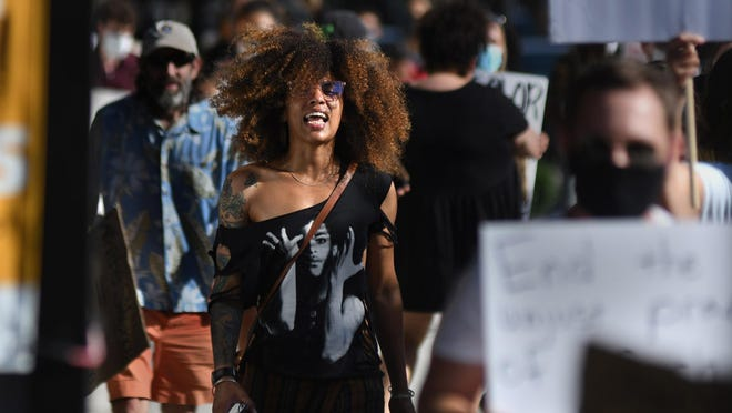 Lily Nicole, chairperson of the lowercase leaders, during a protest in downtown Wilmington on June 3.