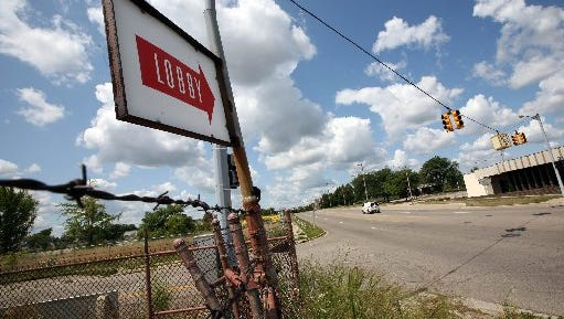A sign points to the once lobby of the Buick City Plant in Flint, Thursday, August 6, 2009.