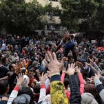 A Cairo protest Sunday to commemorate the 2011 uprising in Egypt that ousted President Hosni Mubarak.