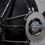 ORG XMIT: 147198868 A picture shows the flattened Osymetric chainrings on the bike of Overall leader's yellow jersey, British Bradley Wiggins, prior to the beginning of the 41,5 km individual time-trial and ninth stage of the 2012 Tour de France cycling race starting in Arc-et-Senans and finishing in Besancon, eastern France, on July 9, 2012.    AFP PHOTO / JOEL SAGETJOEL SAGET/AFP/GettyImages ORIG FILE ID: 512263118