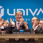 epa04808758 A handout image made available by New York Stock Exchange (NYSE) showing President & CEO, Erik Fyrwald (C) of Illinois-based Univar Inc. ringing the Opening Bell 19 June 2015 as Executives and guests of Univar Inc. visit the New York Stock Exchange (NYSE) to celebrate their June 18th IPO. Univar say they are a chemical distribution company based in Downers Grove, Illinois. The company was founded in 1924 and as of 2013, it employed approximately 8,000 employees worldwide and generated net sales of $10.3 billion in 2013.  EPA/VALERIE CAVINESS / HANDOUT  HANDOUT EDITORIAL USE ONLY/NO SALES ORG XMIT: NYSE43