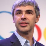 Alphabet CEO Larry Page speaks at a news conference at the Google offices in New York on May 21, 2012.