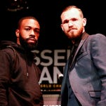 "Patrick Hyland, right, will challenge Gary Russell Jr. for the WBC featherweight championship Saturday. Hyland says winning the title would be ""a real dream come true for myself."""