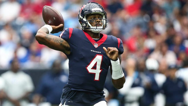 Texans quarterback Deshaun Watson became the third quarterback in NFL history on Sunday to throw four touchdown passes and run for another in the same game.