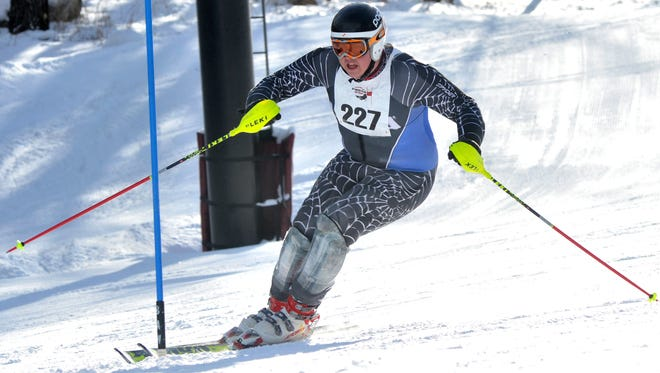Skier Ryan Gajewski of Wausau competes during a Badger State Winter Games skiing event at Granite Peak Ski Area in Rib Mountain.