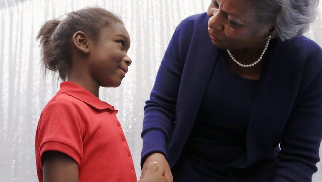 Harmony-Soleil Clemmons, 6, meets Margie Rose, city manager, during a meet and greet for Rose hosted by the NAACP at the Oveal Williams Senior Center on Wednesday, August 24, 2016. Rose spoke about her desire to be a good role model for girls.