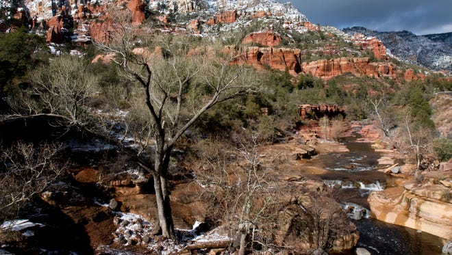 Snowmelt from a winter storm trickles through Slide Rock State Park in Oak Creek Canyon.