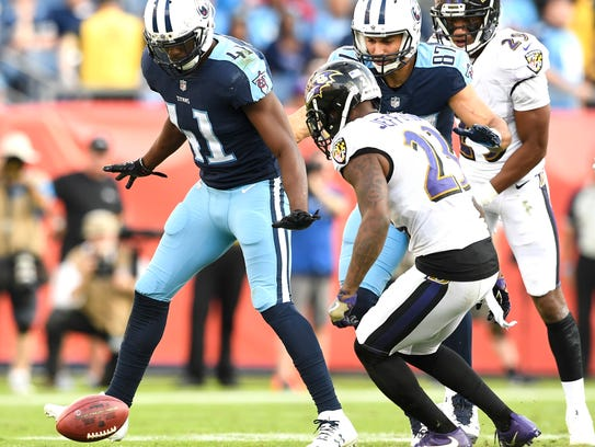 Titans safety Brynden Trawick (41) and wide receiver