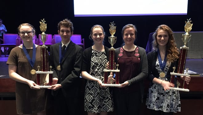 From left, Mickayla Smith, Levi Jones, Tristan Schluderberg, Olivia Tarman and Katelyn Salotto, winners at the high school level of the York County Science and Engineering Fair