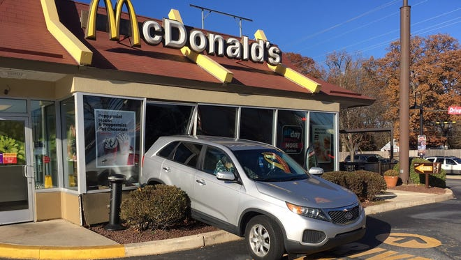 State police are investigating a vehicle crash into a fast food restaurant.