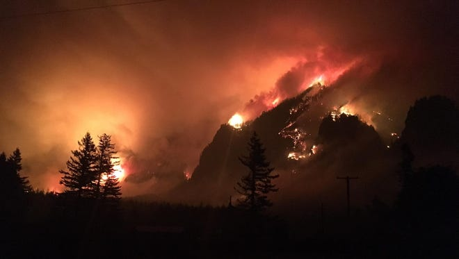 The Eagle Creek Fire burns overnight Monday into Tuesday in the Gorge.