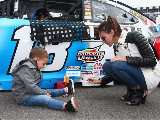 Kyle Busch's wife and son at the track before a race.