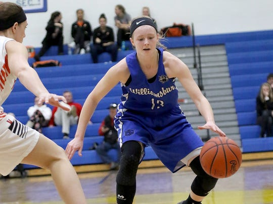 Williamsburg's Jessica Chase brings the  the ball up